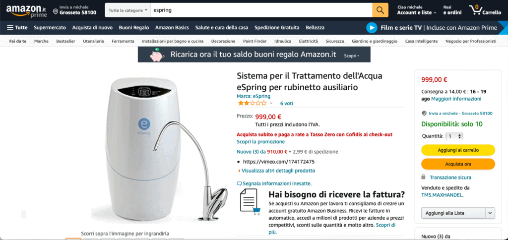 depuratore acqua acquistare su Amazon